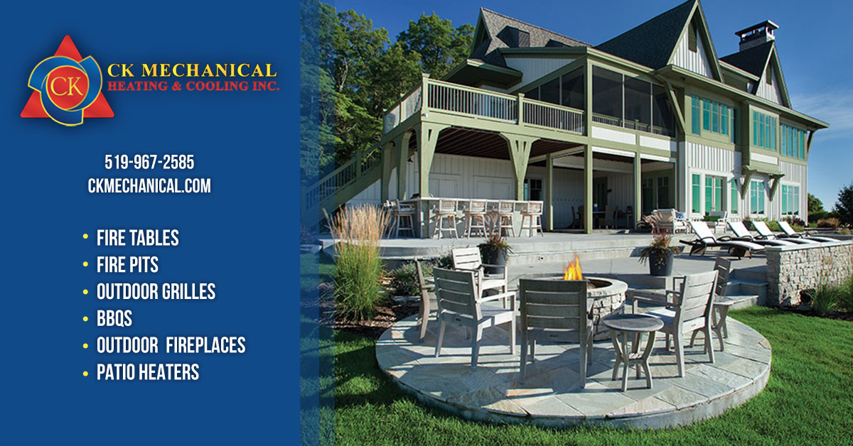 Outdoor Gas Appliances in Windsor-Essex at CK Mechanical - fire tables, fire pits, outdoor grilles, BBQs, Outdoor fireplaces, patio heaters