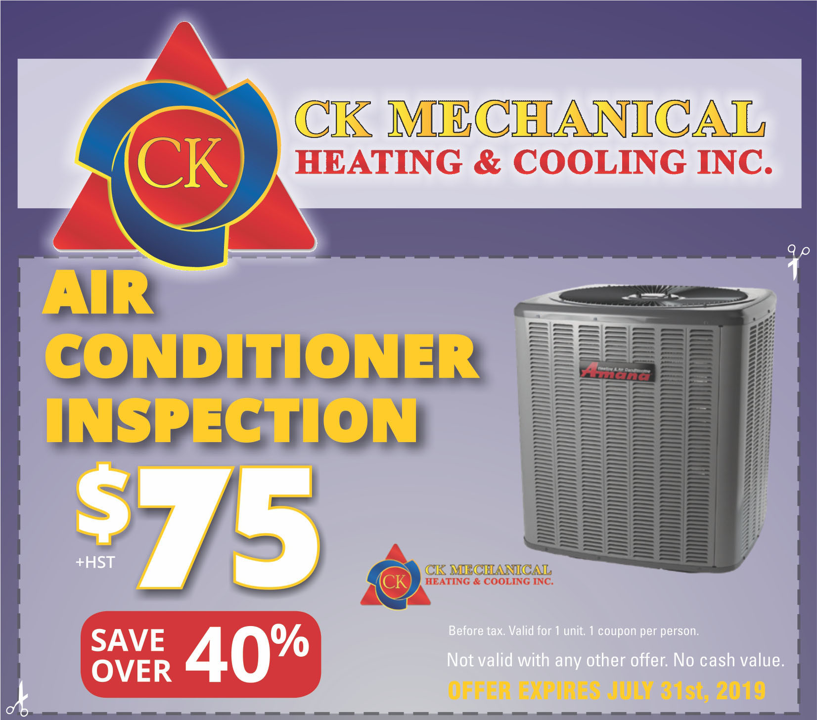 Air Conditioner Inspections in Windsor for &75 + HST at CK Mechanical - valid until July 31st, 2019