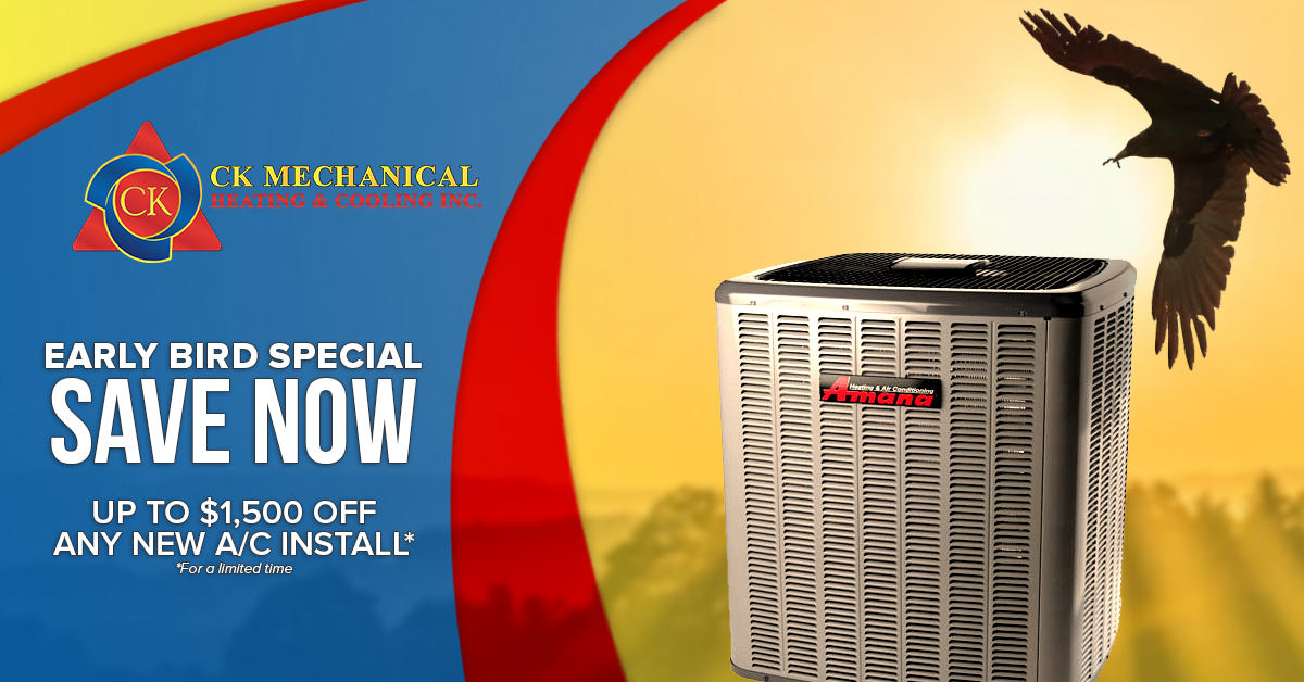 Early Bird Air Conditioner Special: Save $1,500 on Any New A/C Installation